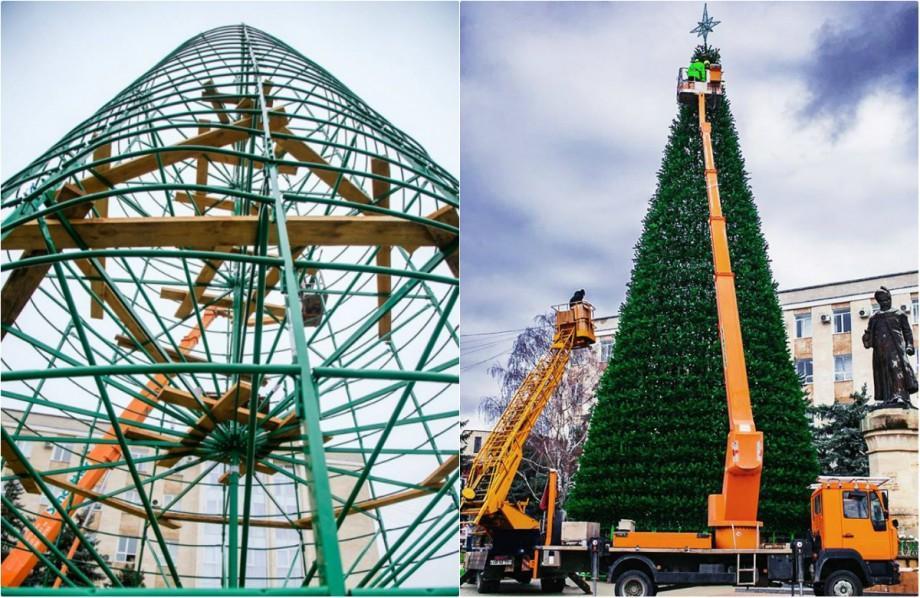 (foto) La Orhei a fost instalat Pomul de Crăciun. Are 24 de metri și este artificial